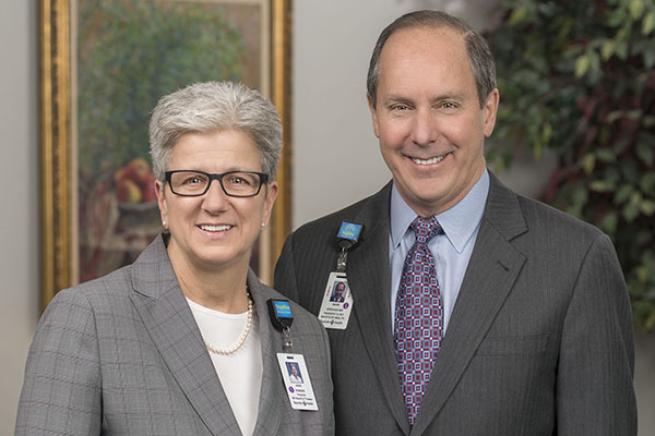 Anne Paradis (left), Chair, Baystate Health Board of Trustees Mark A. Keroack, MD, MPH (right), President & Chief Executive Officer, Baystate Health